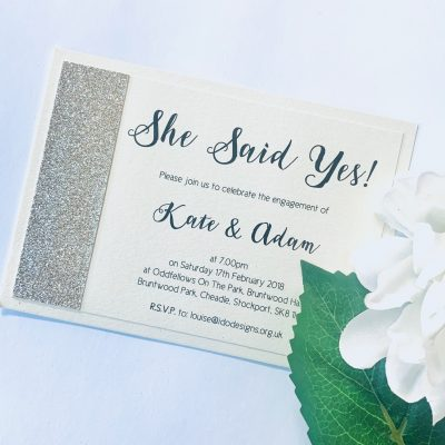 She said yes invitation with gold glitter panel