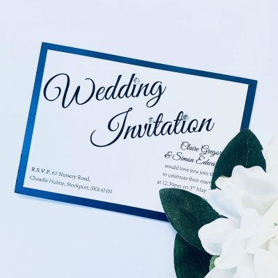 small simple flat invitation with royal blue border