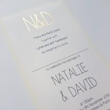 tall flatback invitation with gold foiled initials
