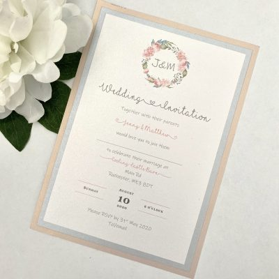 Flat Invitation with floral wreath