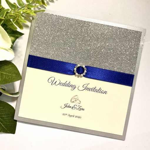 Classic folded invitation with Glitter and buckle