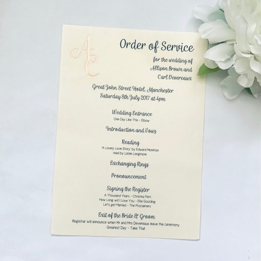 Paper Order of Service with foiled initials