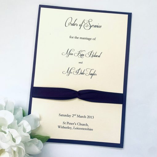 Navy double knotted Order of Service booklet