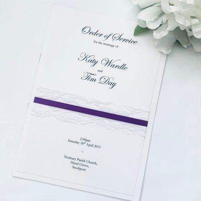 purple and lace Order of service booklet