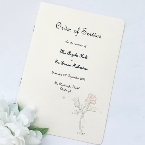 Rose and thistle themed Order of Service