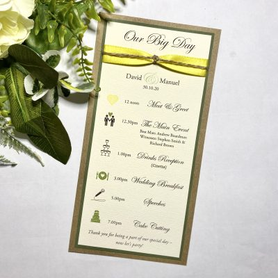 Rustic slim Order of the Day card