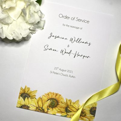 sunflower themed Order of Service Booklet