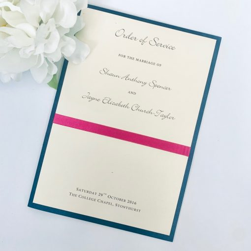 Teal and Pink Order of Service