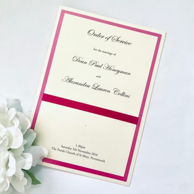 pink and ivory Order of Service booklet