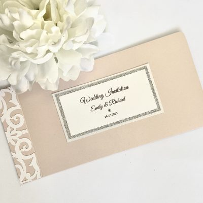 blush pink and white laser cut chequebook