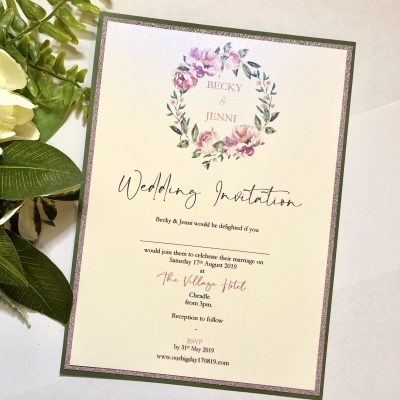Classic flat invitation with Floral wreath