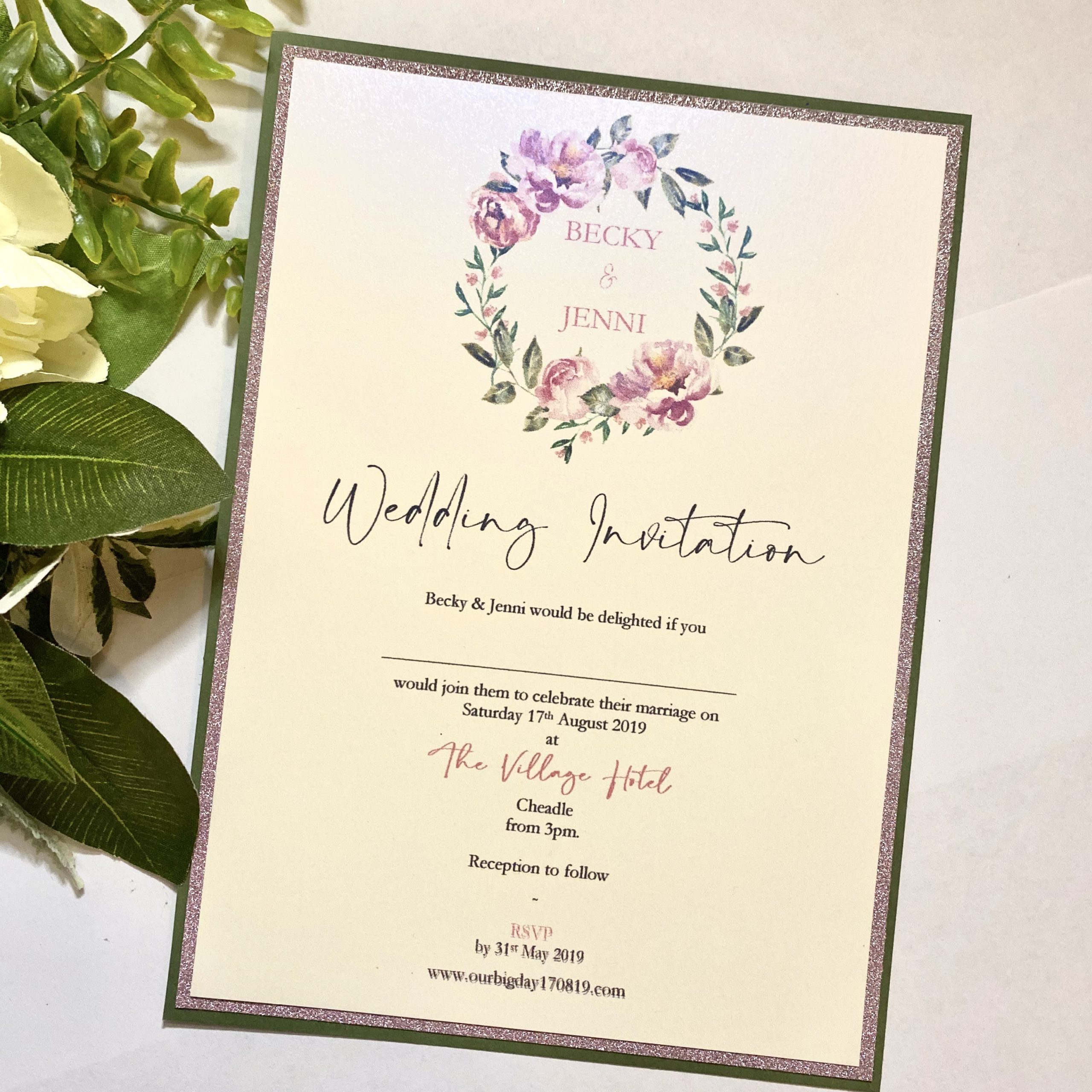 Same sex Classic flat invitation with Floral wreath