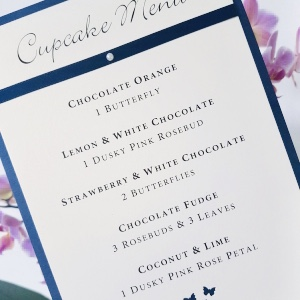 Cupcake Menus with a Navy and Ivory colour scheme