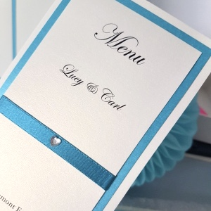 Ivory & Teal triple mounted folded Menu cards