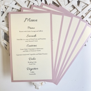 Wedding Breakfast Menus in dusky pink and ivory colour scheme
