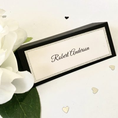 Black and silver glitter name place cards