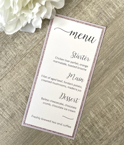 Tall thin wedding menu with glitter mounts