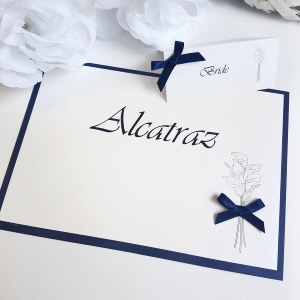 lily and navy table names and name card