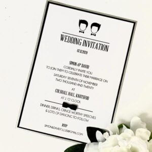 Same sex classic flat invitation with bow tie