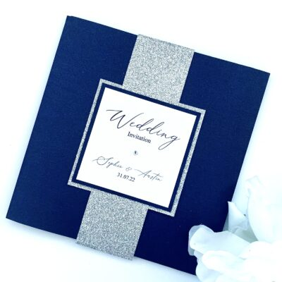 navy pocketfold with silver glitter bellyband
