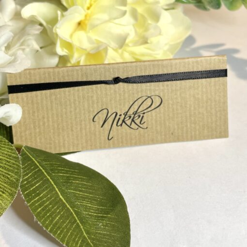 kraft and black name place card