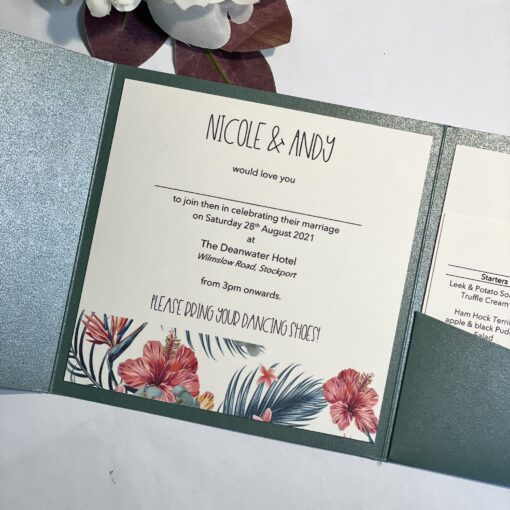 tropical themed pocketfold invitation with bellyband