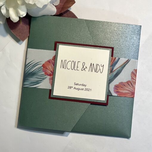 tropical themed pocket fold invitation