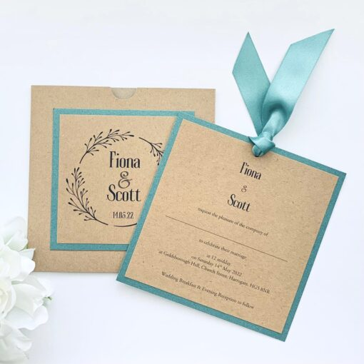 Kraft square loop tie invitation with green mount and ribbon (1)
