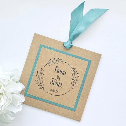 Kraft square loop tie invitation with green mount and ribbon (2)