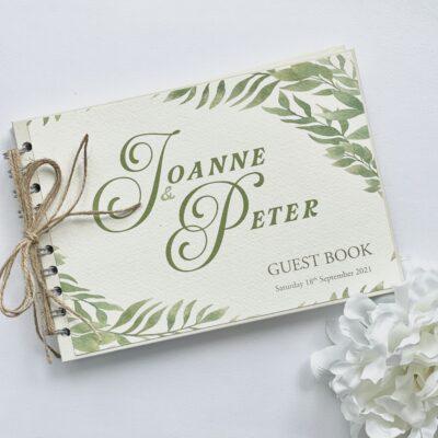 Rustic kraft guestbook with fern design